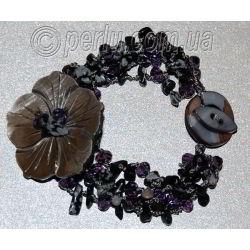 Браслет из обсидиана с перламутром 'Каменный цветок'