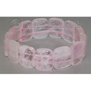 Браслет из натурального розового кварца №5282