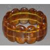 Широкий браслет из натурального янтаря 'Медовый'