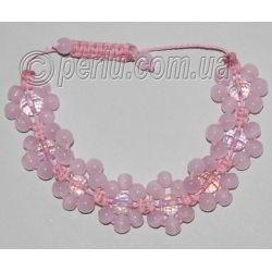 Браслет шамбала из розового кварца №7191
