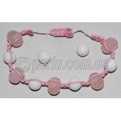Браслет шамбала из розового кварца и агата №7222