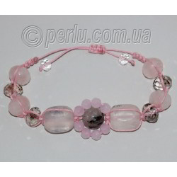 Браслет шамбала из розового кварца №7463