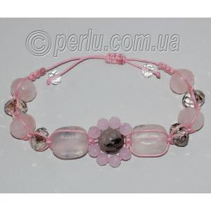 Браслет шамбала из розового и турмалинового кварца №7463
