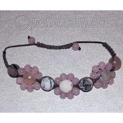 Браслет шамбала из розового кварца и агата №8081