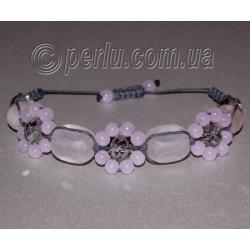 Браслет шамбала из розового кварца и чешского стекла №8082