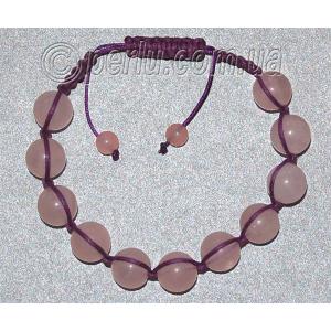 Браслет шамбала из розового кварца №8123