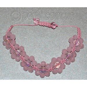 Браслет шамбала из розового кварца №8124