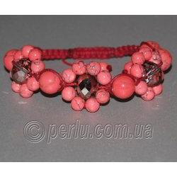 Браслет шамбала из  розового коралла с чешским стеклом