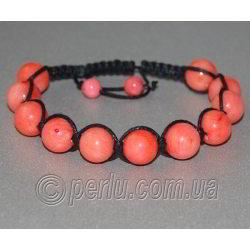 Браслет шамбала из розового коралла 'Нежность и юность'