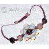 Браслет шамбала из лунного камня, аметиста и розового кварца 'Цветок'
