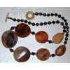 Бусы из натуральных камней  агата и граната 'Чудесная жеода'