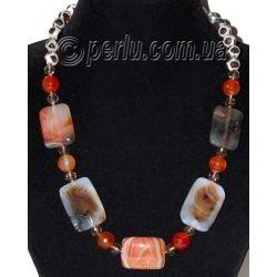 Бусы из натуральных камней агата и сердолика 'Живописное чудо'