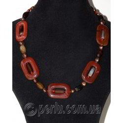Бусы из натурального агата, сердолика, жемчуга 'Мое ожерелье'