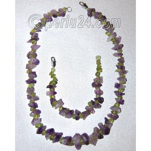 Комплект - бусы и браслет из аметиста и хризолита