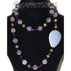 Бусы из натурального аметиста, розового кварца, агата и хризолита №7649