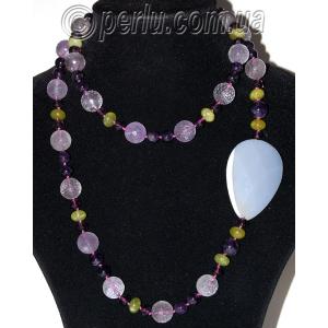 Бусы из аметиста, розового кварца, агата и хризолита №7649