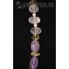 Бусы из натуральных камней аметиста, розового кварца, жемчуга и хризолита 'Роскошь'