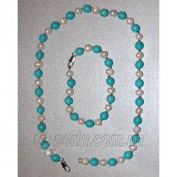 Бусы с браслетом из бирюзы и жемчуга №7900