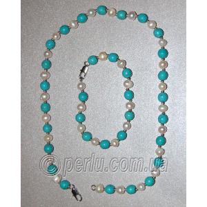 Бусы с браслетом из натурального жемчуга и бирюзы №7900