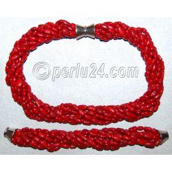 Комплект: бусы и браслет из натурального коралла 'Шик'