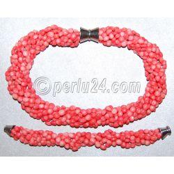 Комплект: бусы и браслет из натурального коралла 'Фантастика'
