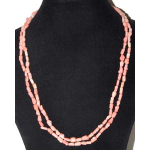 Длинные бусы из натурального розового коралла 'Прелесть'