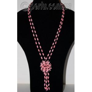 Бусы из натурального розового коралла с кулоном