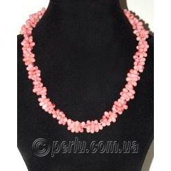 Бусы из натурального розового коралла 'Чайная роза'