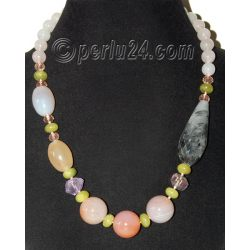 Бусы из сердолика, розового кварца, турмалинового кварца, аметиста и хризолита
