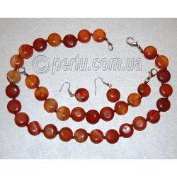 Комплект - бусы, браслет и серьги из натурального сердолика 'Верность'