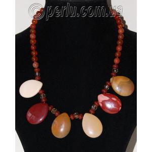 Бусы из натуральных камней яшмы и сердолика 'Феерия цвета'