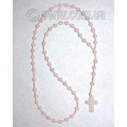 Бусы четки с крестом  из розового кварца