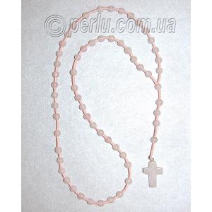 Бусы четки с крестом  из натурального камня розовый кварц